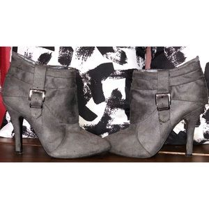 Buckled dark grey faux suede ankle boot